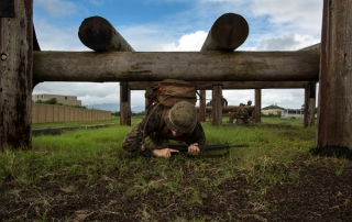 Marine navigating an obstacle